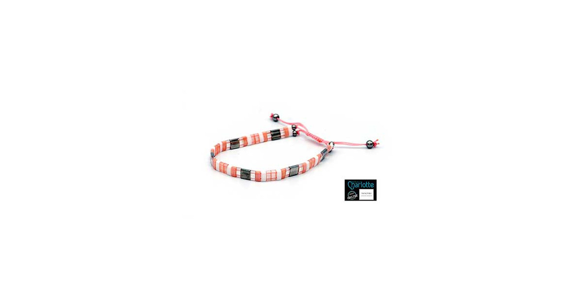 Kit bracelet with Miyuki Quarter + Half + Tila with macramé clasp Peach