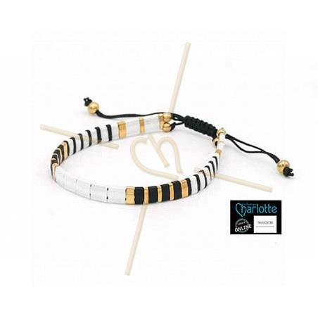 Kit bracelet with Miyuki Quarter + Half + Tila with macramé clasp Black Gold White
