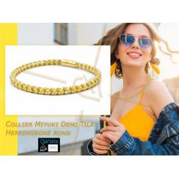 Collier Miyuki Half Tila technique Herringbone rond - Yellow gold