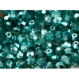 Facette Perle Czech 4mm Blue Zircon Métallisé