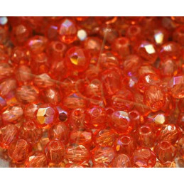 Firepolished Facet kraal 4mm Padparadscha AB