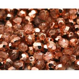 Firepolished Czech Bead 4mm Rose gold Metallic