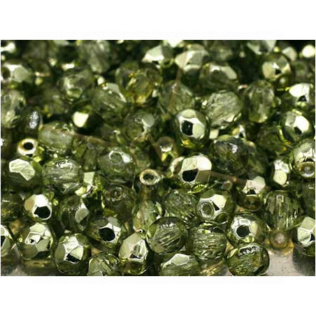 Firepolished Czech Bead 4mm Light Olive Metallic