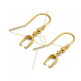 Crochets d'oreilles Argent veritable .925 avec Bélière Gold Plated