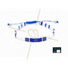 Kit armbandje met Miyuki quart + half + Tila met macramé sluiting White Blue