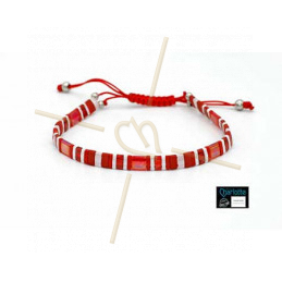 Kit bracelet with Miyuki Quarter + Half + Tila with macramé clasp Red White
