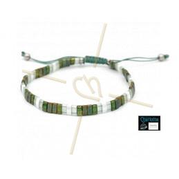 Kit armbandje met Miyuki quart + half + Tila met macramé sluiting Groen Brons