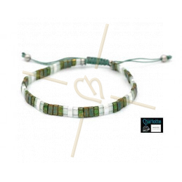 Kit bracelet with Miyuki Quarter + Half + Tila with macramé clasp Green Brons