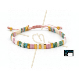 Kit armbandje met Miyuki quart + half + Tila met macramé sluiting Ivory Pink Picasso