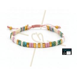 Kit bracelet avec Miyuki Quart + Demi + Tila en macramé fermoir Ivory Pink Picasso