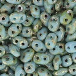 Superduo Matubo Turquoise Blue Picasso 563030-43400
