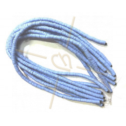 Heishi rondellen 6mm lichtblauw String 40 cm.