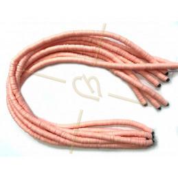 Heishi rondellen 6mm Zalmroze String 40 cm.