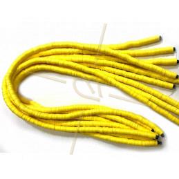Heishi rondellen 6mm Geel String 40 cm.