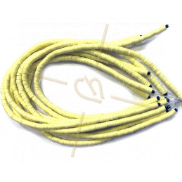 Heishi Rings 6mm Light Yellow String 40cm.
