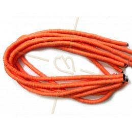 Heishi rondellen 6mm Orange String 40 cm.