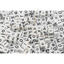 Letterkralen alfabet vierkant wit/zwart 6mm