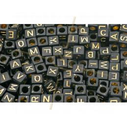 Letter Beads square Black/Gold 6mm