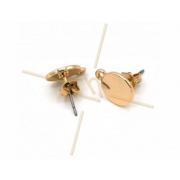 earrings disk 12mm with ring gold plated