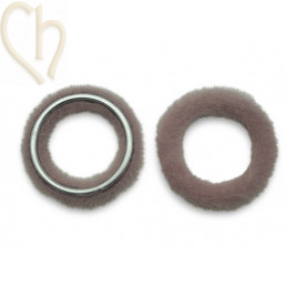 2 x Pendant round synth. fur 26mm Pink