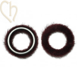 2 x Pendant round synth. fur 26mm Dark Red