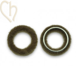 2 x Pendant round synth. fur 26mm Brown