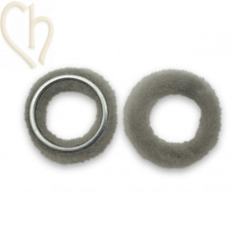 2 x Pendant round synth. fur 26mm Lichtgrey