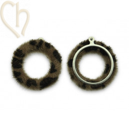 2 x Pendant round synth. fur 26mm Tiger Brown
