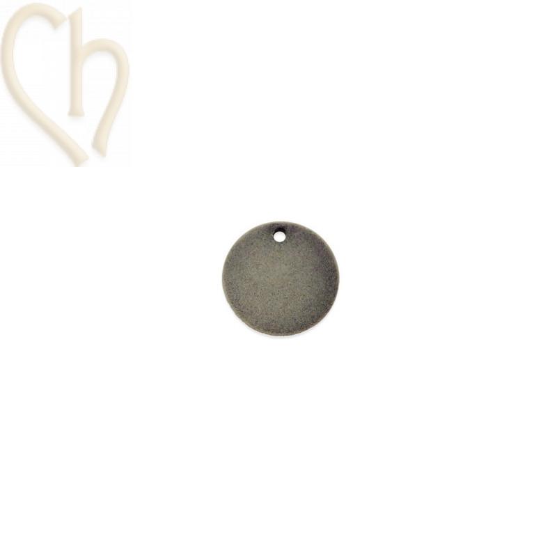 2 x pendant disc round velvet 19mm Light Grey