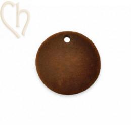 2 x pendant disc round velvet 19mm Brown