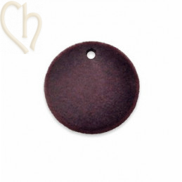2 x pendant disc round velvet 19mm Cassis