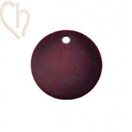 2 x pendant disc round velvet 19mm Donkerrood