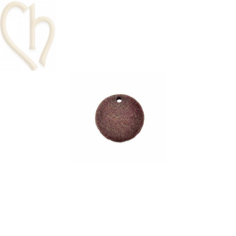 2 x pendant disc round velvet 19mm Antique Pink