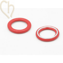 2 x Hanger rond synth. leder 27mm Rood