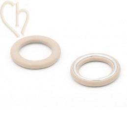 2 x Hanger rond synth. leder 27mm Beige
