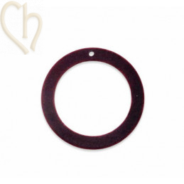 Pendant velvet round 30mm Dark Red
