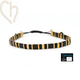 Kit bracelet with Miyuki Quarter + Half + Tila with macramé clasp Black and Gold