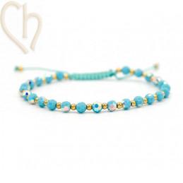 Kit bracelet steel and Crystal Swarovski Turquoise AB