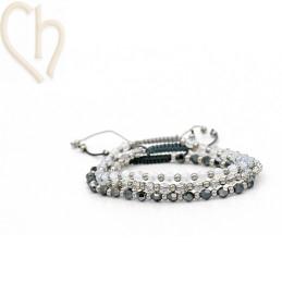 3 Kits bracelet steel and Crystal Swarovski Grey tones