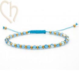 Kit armbandje met Staal en Swarovski Crystal Aquamarine AB