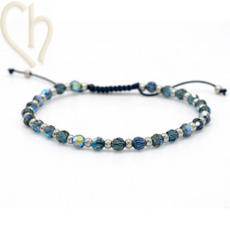 Kit bracelet steel and Crystal Swarovski Montana AB