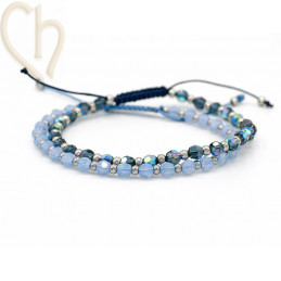 2 Kits bracelet steel and Crystal Swarovski Montana and Air Bleu Opal