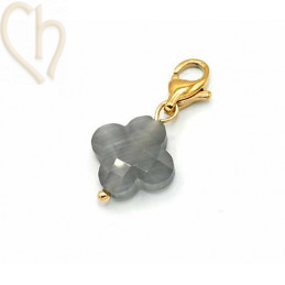 Charms clover4 GREY with steel clasp Gold Plated