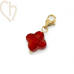 Charms clover4 ROOD met edelstaal slotje goldplated