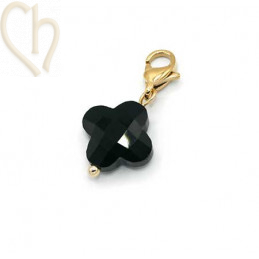 Charms clover4 BLACK with steel clasp Gold Plated