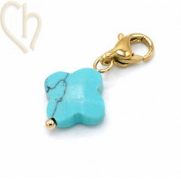 Charms clover4 TURQUOISE met edelstaal slotje goldplated