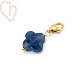 Charms clover4 NAVY met edelstaal slotje goldplated