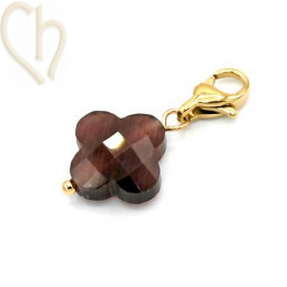 Charms clover4 BROWN met edelstaal slotje goldplated
