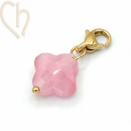 Charms clover4 ROZE met edelstaal slotje goldplated