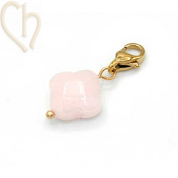 Charms clover4 LICHT ROZE met edelstaal slotje goldplated
